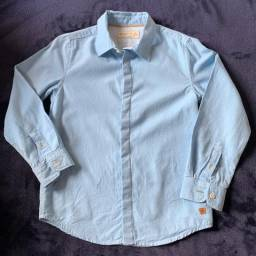 Camisa Manga Longa Infantil Zara Boys Jeans Original Azul Tam 6