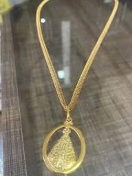 Cordão com Medalha em Prata Banhada em Ouro