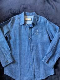 Camisa Manga Longa Infantil Zara Boys Original Azul Tam 5/6