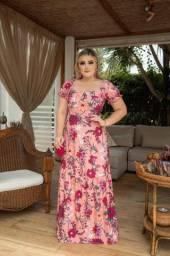 Vestido Moda Evangélica Longo Rosê Estampado
