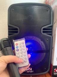 Caixa de som 800w+microfone +controle