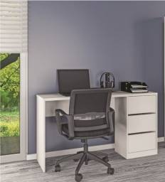 Escrivaninha modelo comum com 3 gavetas nas cores branco e café ! NOVA