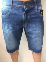Bermuda jeans com elastano