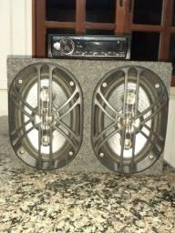 Rádio automotivo Pioneer + caixa de som com um par de 6x9 bravox