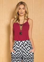 Blusa Soltinha com Alças Trançadas Bordô Plus Size Tam 54 (NOVA)