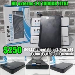 HD externo 3.0 100GB(1tb) portátil, ps3,Xbox 360,TV box, TV e PC, Com garantia