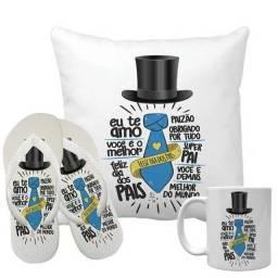 Kit Dia dos Pais Almofada Personalizada + Chinelo + Caneca