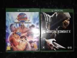DVD Jogos X Box One S => Mortal Kombat X e Street Fighter