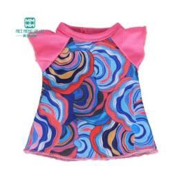 Roupinha para boneca Baby Alive - Vestidinho Rosa e Azul Abstrato