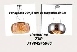 Título do anúncio: Lustre Pendente Cristal Cupula De Vidro K9 40Cm 3 cores