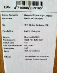 """Acer i5 10ª geração 256Gb SSD 15,6"""""""
