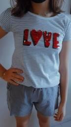 Camisa love de lantejoula que muda de cor