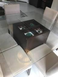 Mesa de jantar madeira com tampo de vidro