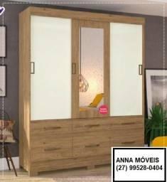 Promoção Segunda Marketplace - Guarda-Roupa Com espelho - Três Portas - Opções cores