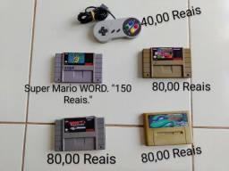 Controle e Fitas Super Nintendo.