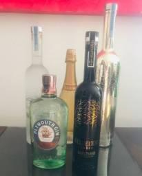 Bebidas kit com Gin Plymouth, champagne Luxor e vodka Belvedere com led e vodka belvedere