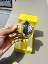 Relógio invicta subaquático 5404 banhado a ouro (original)