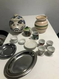 Vendo conjunto de porcelanas e inox