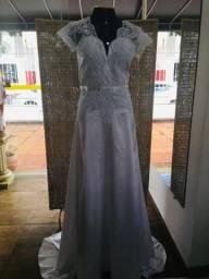 Vestido de noiva NOVO shantung evasê
