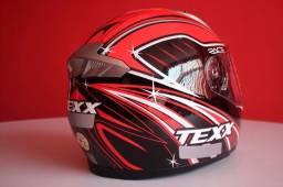 Capacete Moto Texx Race Sleek Double Vision - Vermelho - Tamanho 60