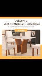 Mesa de jantar Retangular +4 cadeiras