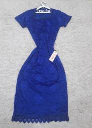 Vestido azul marinho de renda (P)