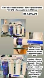 Título do anúncio: Oportunidade: filtro de osmose reversa + bomba + reservatório 17L