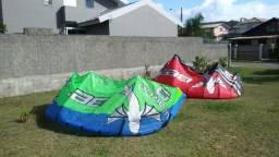 Kite Waroo 9 + Kite Waroo 13 + prancha bidirecional + trapézio