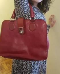 5766a2021 Bolsa de couro Arezzo Vermelha Linda + Porta cartões vermelho em couro