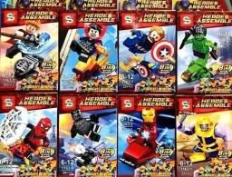 Legos colecionáveis super heróis e vilões / para montar / na caixa