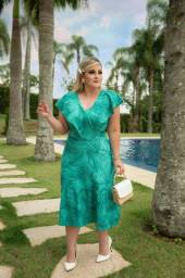 Vestido Verde Estampado Moda Evangélica