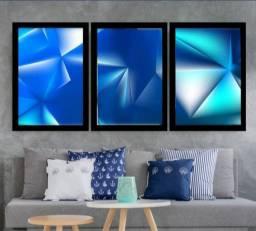 Quadro Mosaico Abstrato Neon 120x60 03 Peças