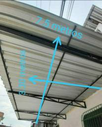 Cobertura de zinco galvanizado com todo suporte de sustentação R$ 1,600