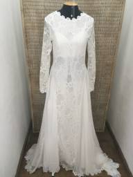 Vestido noiva NOVO musseline e renda