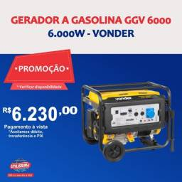 Título do anúncio: Gerador à Gasolina 6000W GGV6000 Bivolt Vonder ? Entrega grátis