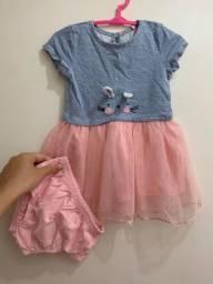 Vestido Baby Club Coelhinha com saia em tule com glitter