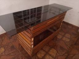Vende essa mesa vidro temperado rústica