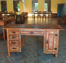 Escrivaninha Rústica Fascinium em Madeira de Demolição - Cód 1187