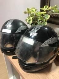 Par de capacete para moto