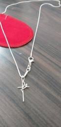 Promoção linda corrente 60cm, banhada a prata 925 nova