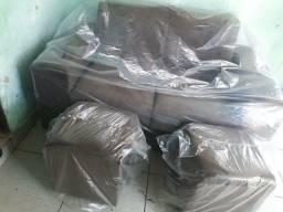 Super promoção sofá retrátil com 2 puffs 480