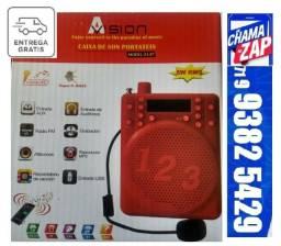 Megafone Caixa de Som Portatil Amplificador Kit Professor/Vendedor A-87