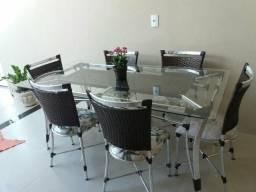 Mesa de alumínio com junco com 6 cadeiras