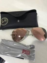Óculos aviador RayBan espelhado Rose/prata