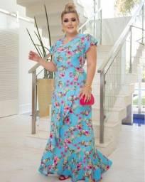 Vestido longo Moda Evangélico azul estampado