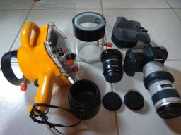Câmera Canon 50D, lentes e caixa estanque