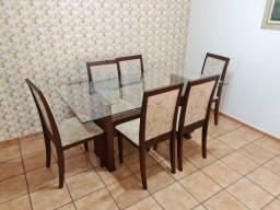 Mesa madeira com tampo de vidro 6 lugares cadeiras