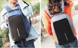 Mochila Bolsa Antifurto Impermeável Notebook Carregador Celular Entrada USB e Fone