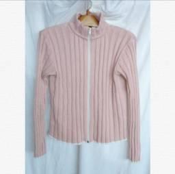 Cardigan rosa tricô blusa frio