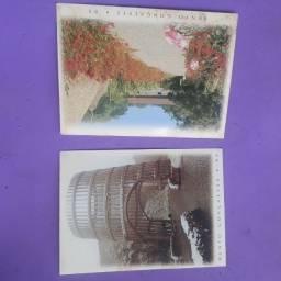 Lote com selos, postais e folha em metal